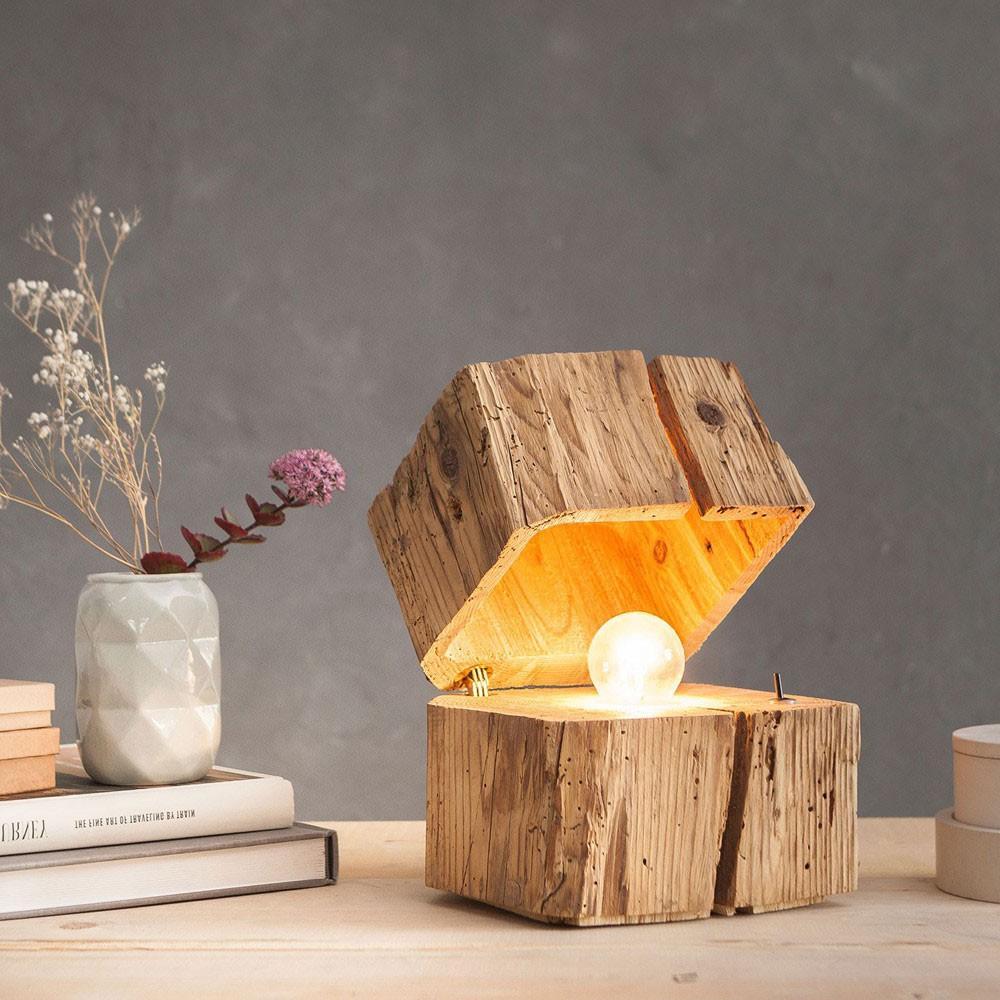 Nachttischlampe Holz Touch
