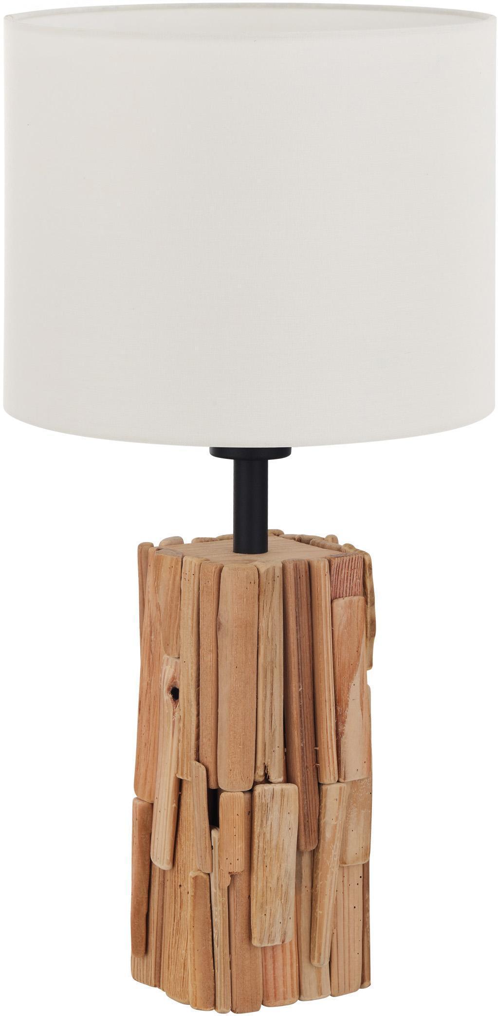 Nachttischlampe Holz Weiß