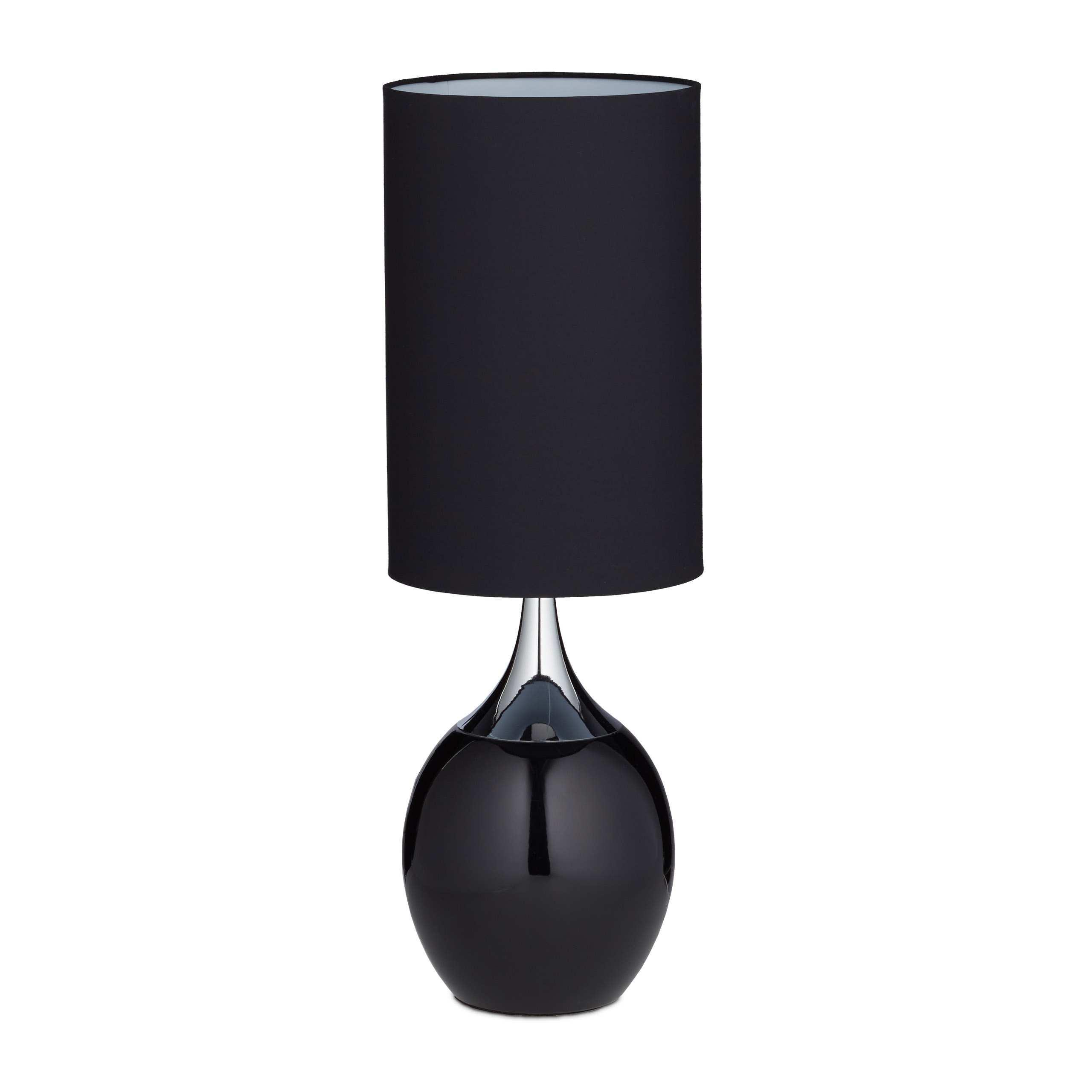 Nachttischlampe Schwarz Silber
