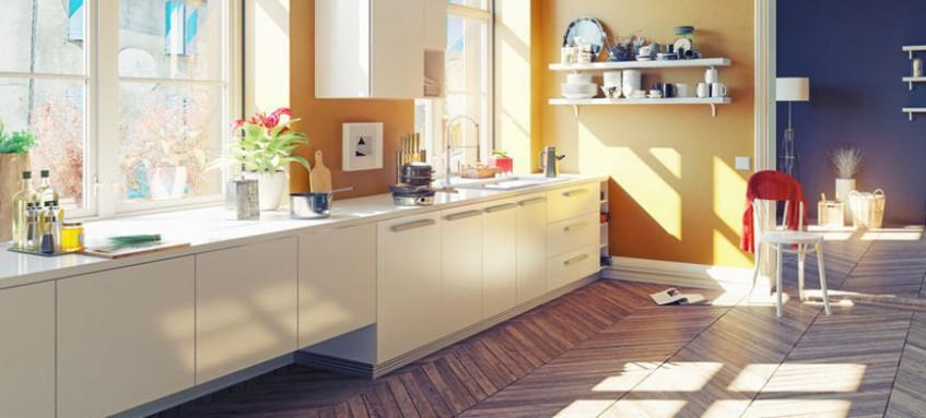 Offene Küche übergang Fliesen Parkett