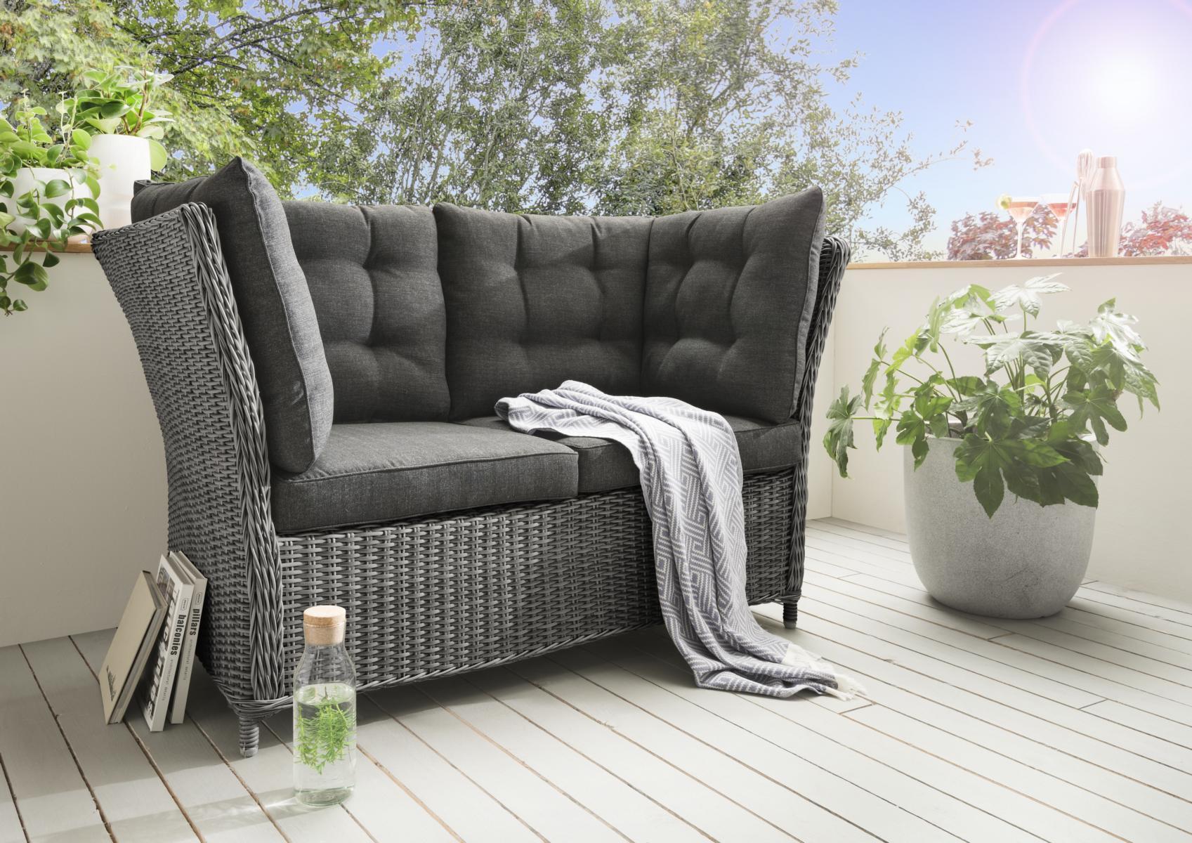 Polyrattan Sofa Grau