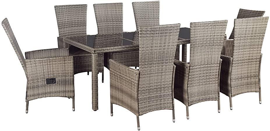 Polyrattan Tisch Grau