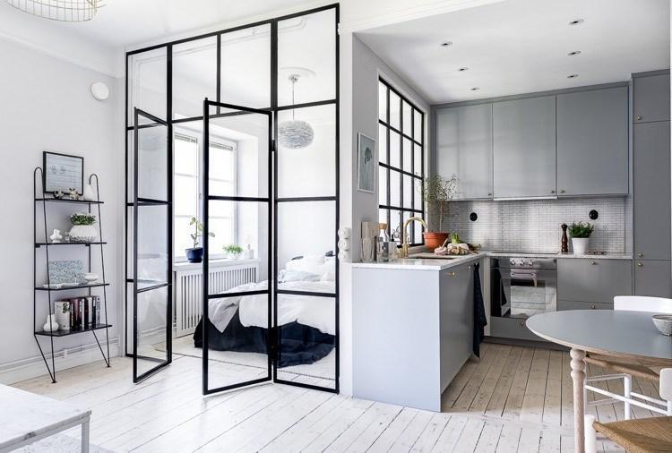 Raumteiler Glaswand Wohnzimmer