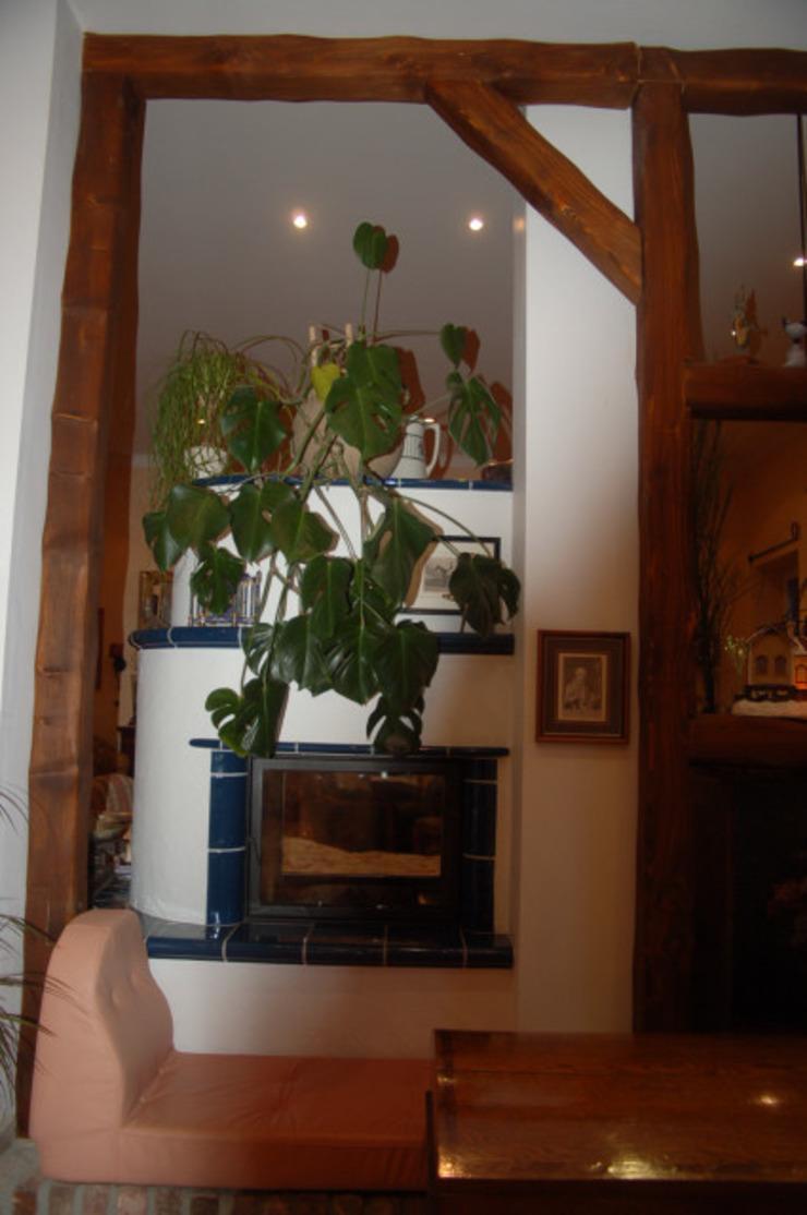 Raumteiler Holzbalken Wohnzimmer