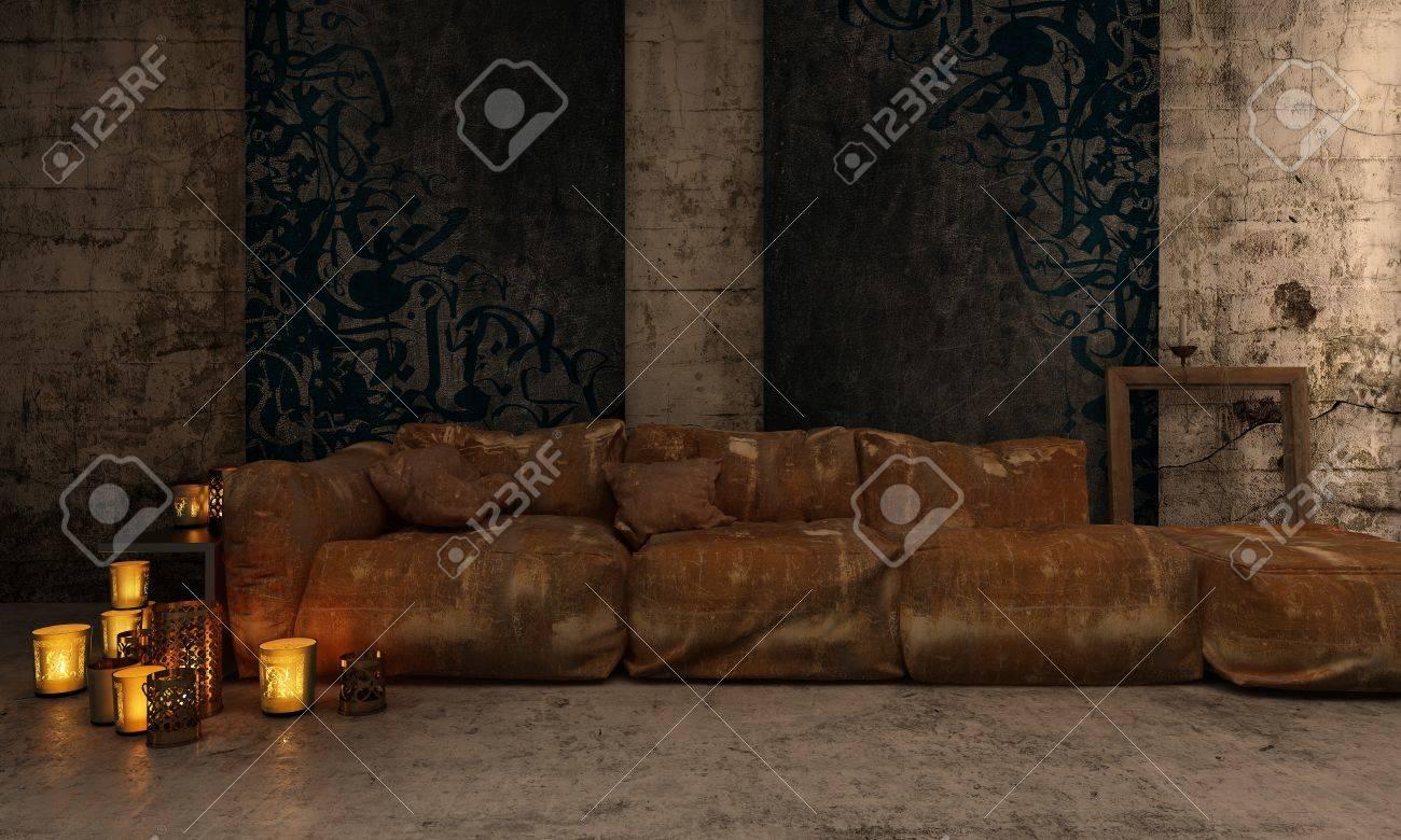 Romantisches Wohnzimmer Mit Kerzen