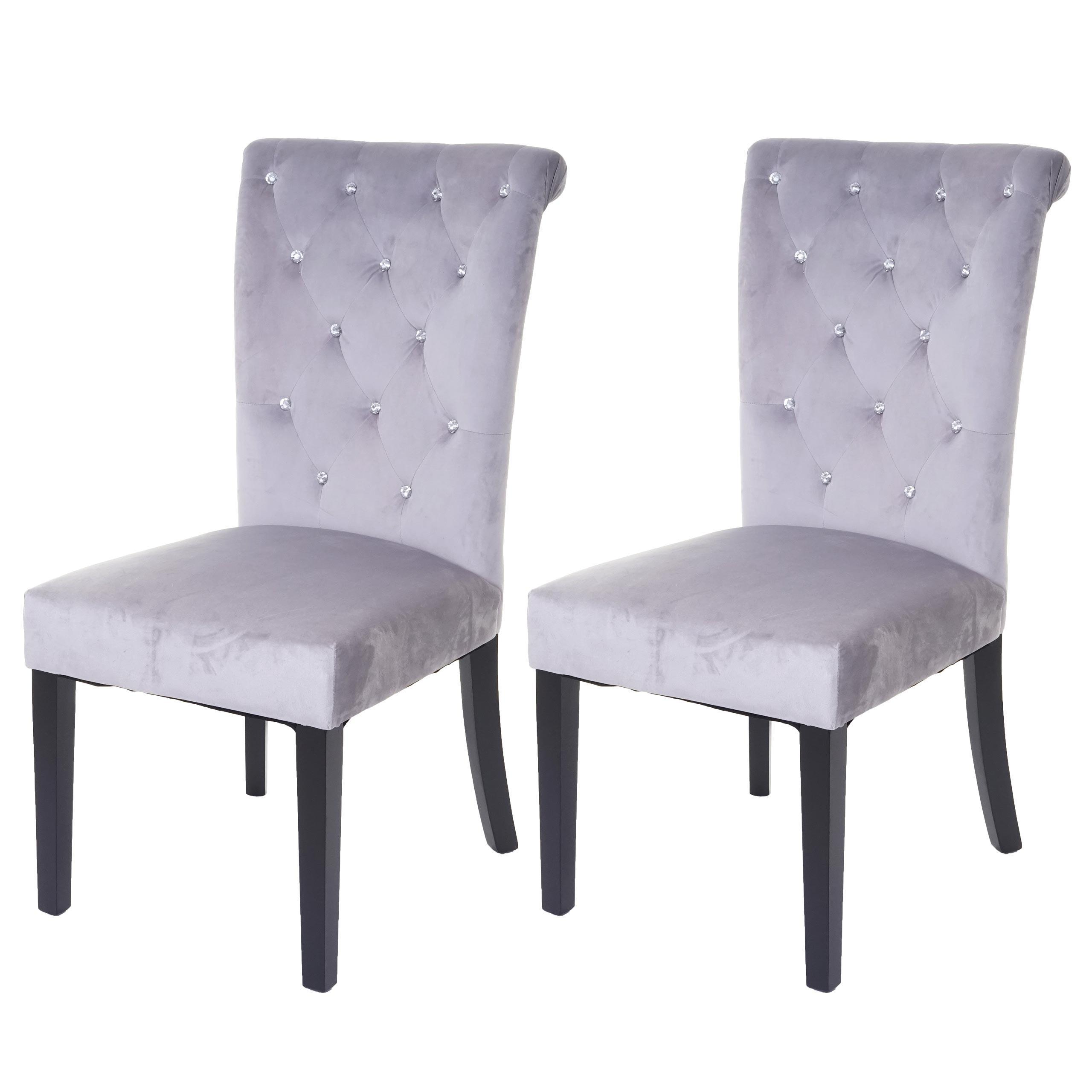 Samt Stuhl Grau Schwarz