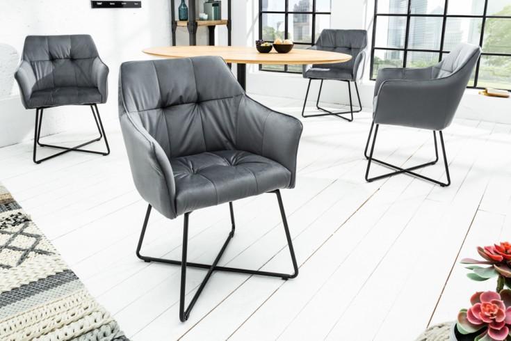 Samt Stuhl Grau Silber