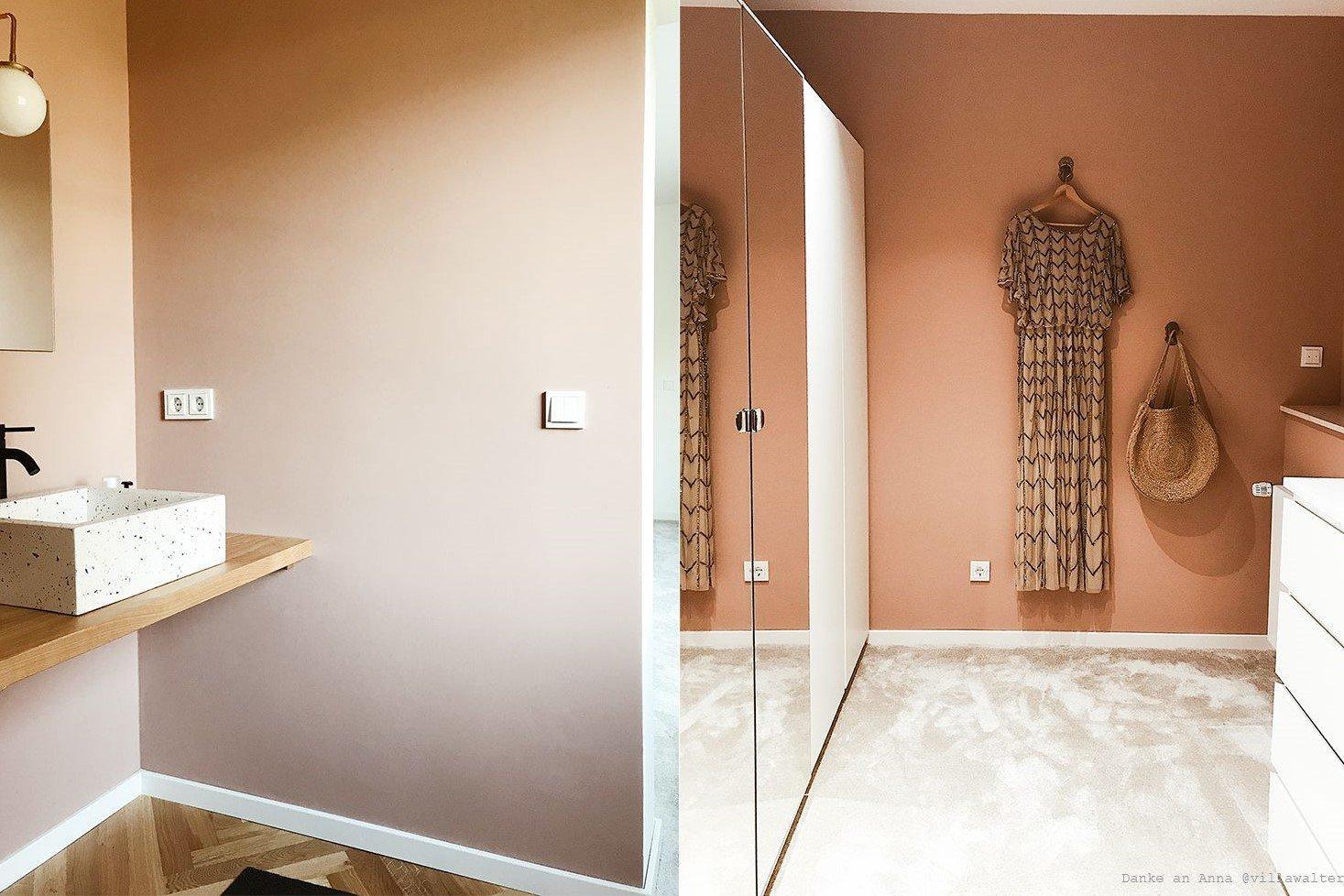 Schlafzimmer Altrosa Wandfarbe