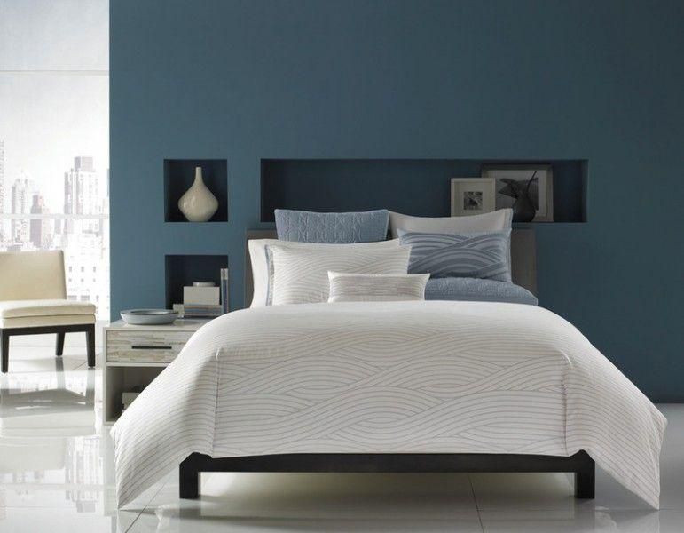 Schlafzimmer Grau Blau Weiß