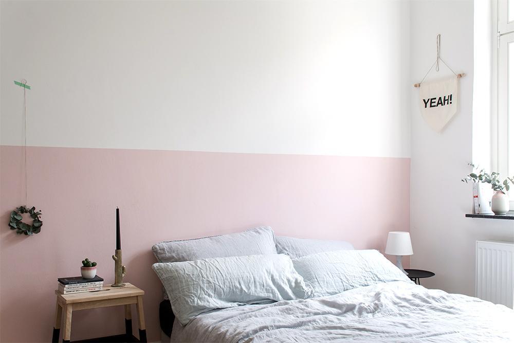 Schlafzimmer Grau Rosa Wand