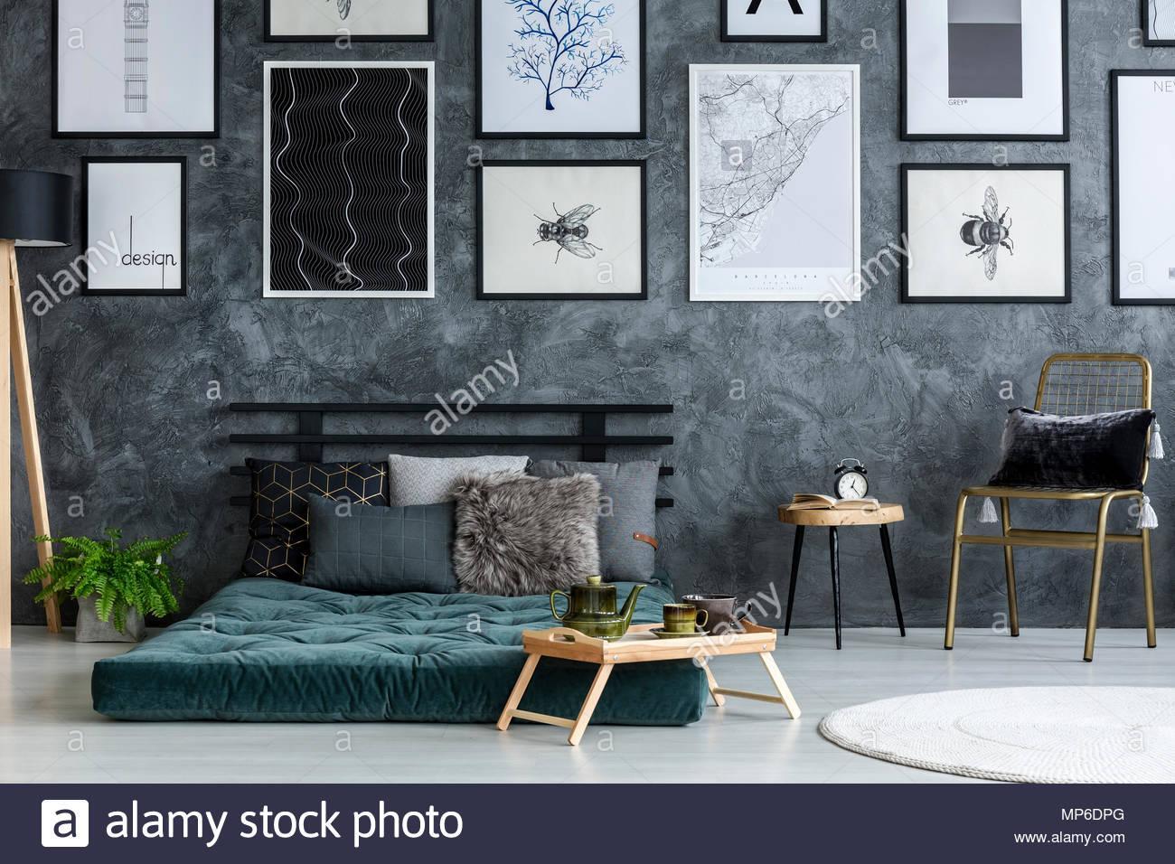 Schlafzimmer Grau Schwarz Gold