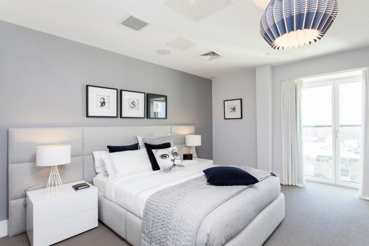 Schlafzimmer Wandfarbe Graublau