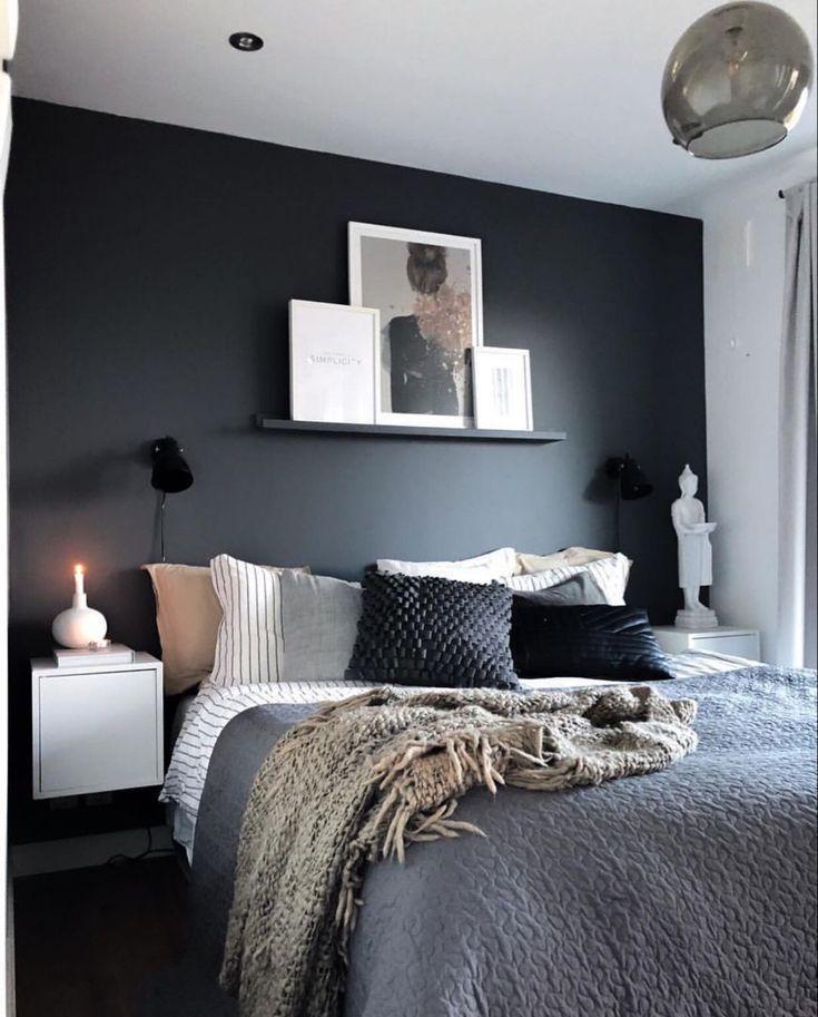 Schlafzimmer Wandfarbe Graues Bett