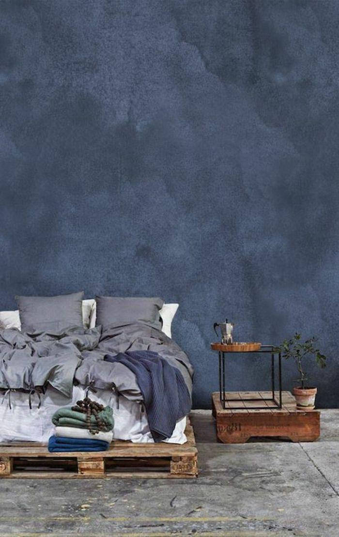 Schlafzimmer Wandgestaltung Blau