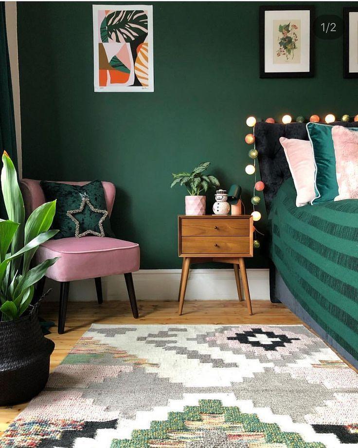 Schlafzimmer Wandgestaltung Grün