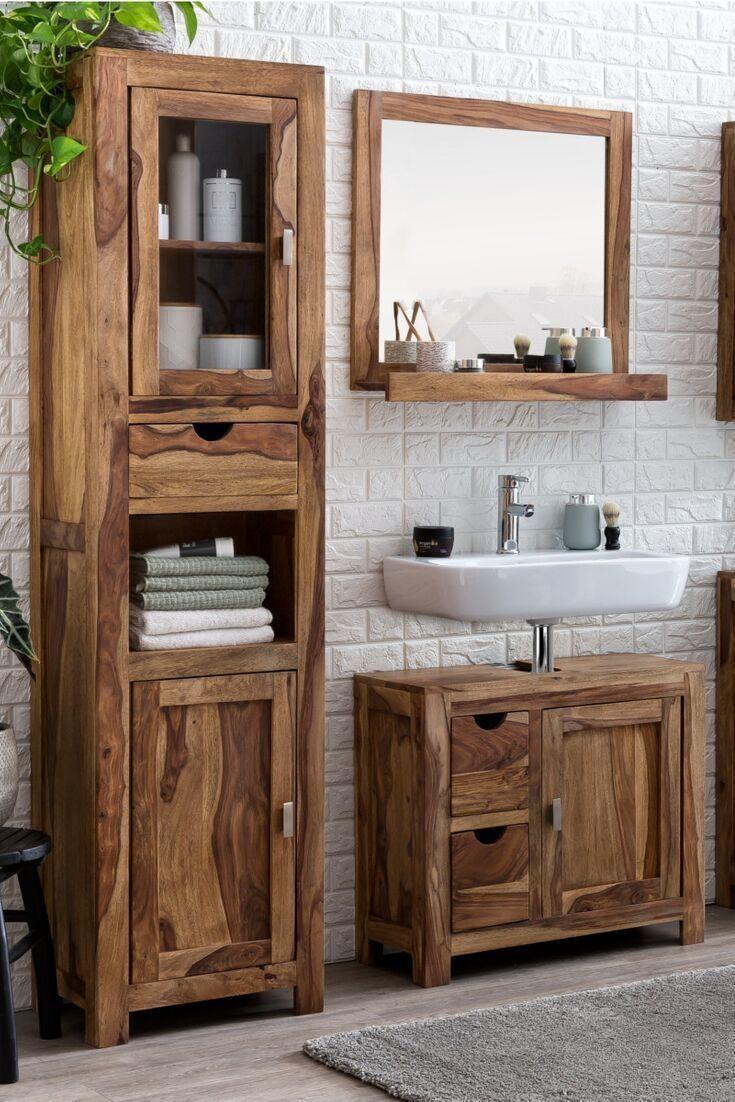 Schrank Badezimmer Holz