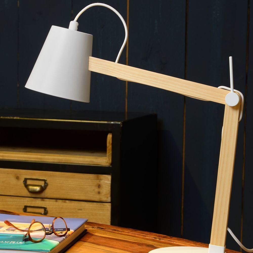 Schreibtischlampe Weiß Holz