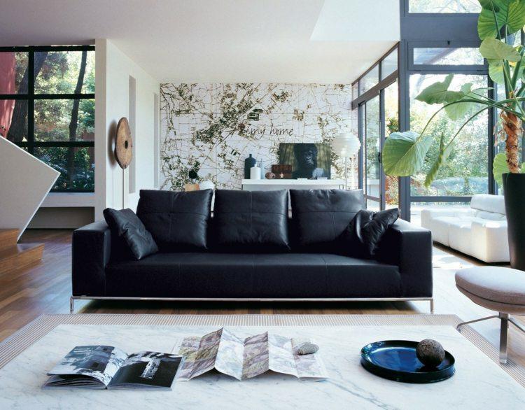 Schwarzes Sofa Wohnzimmer