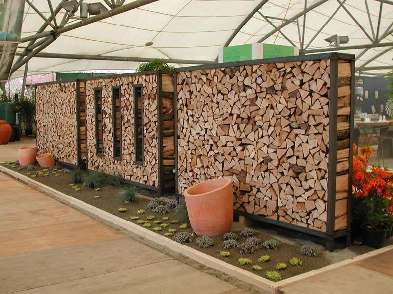 Sichtschutz Garten Holzstapel