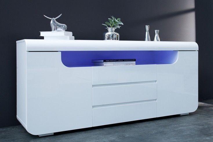 Sideboard Weiß Hochglanz Led