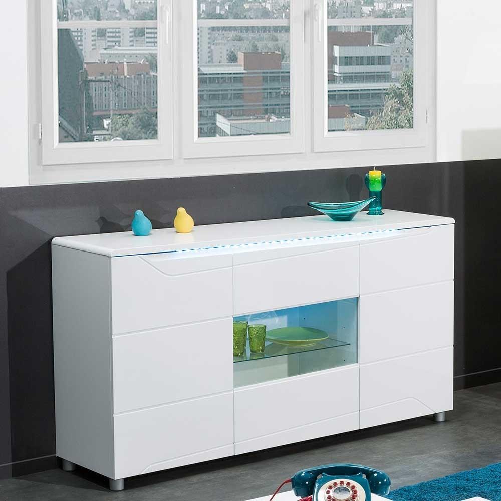 Sideboard Weiß Hochglanz Mit Glas