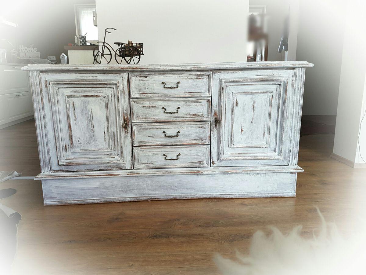 Sideboard Weiß Holz Vintage