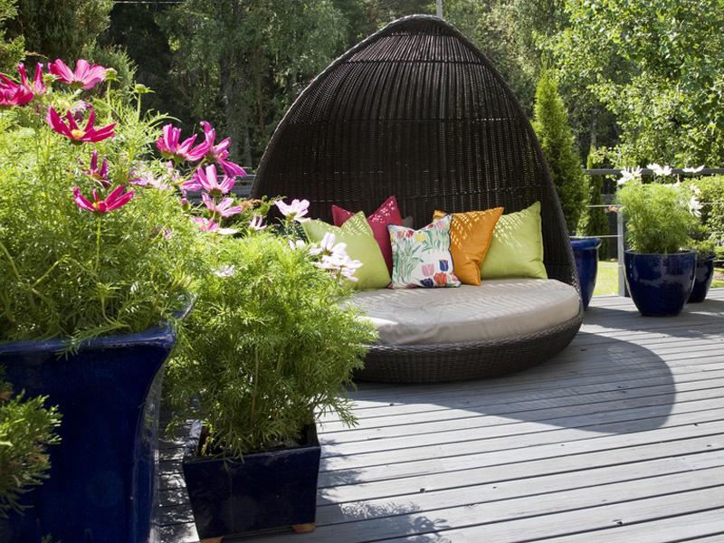 Sitzecke Garten Boden