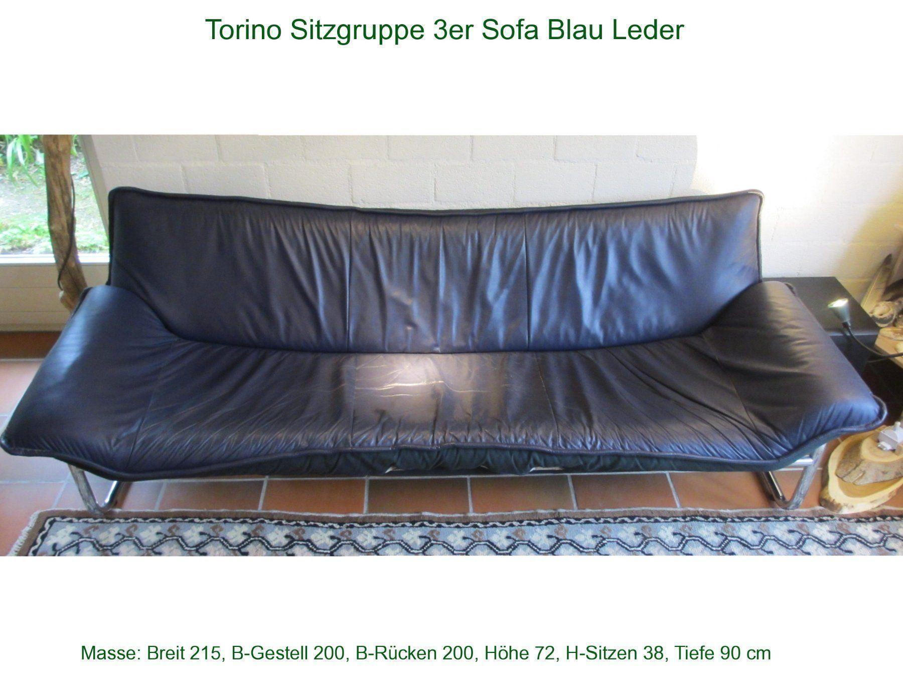 Sofa Blau Leder