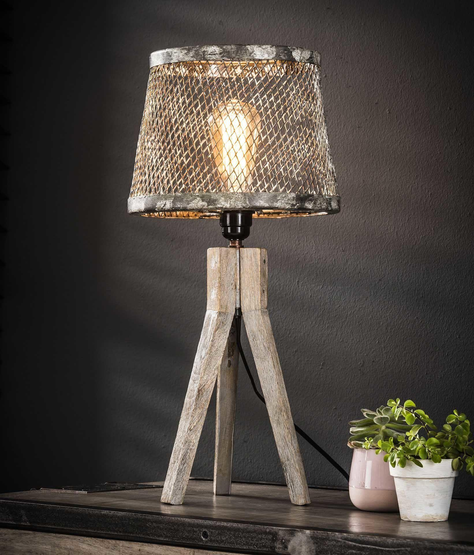 Stehlampe Industrial Holz