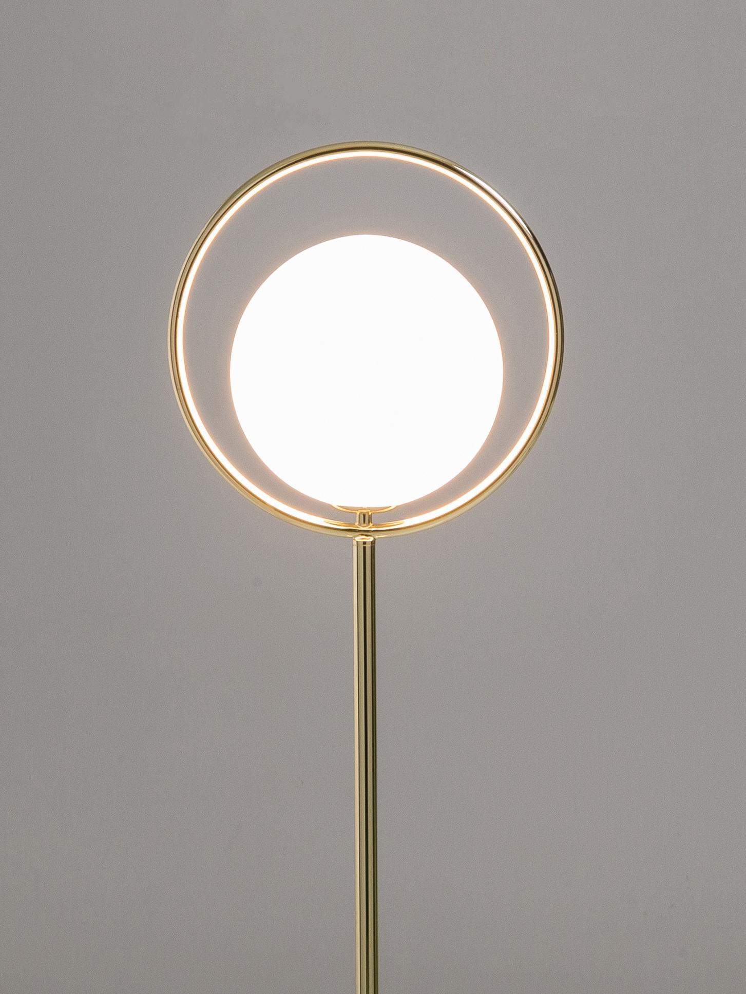 Stehlampe Messing Glas