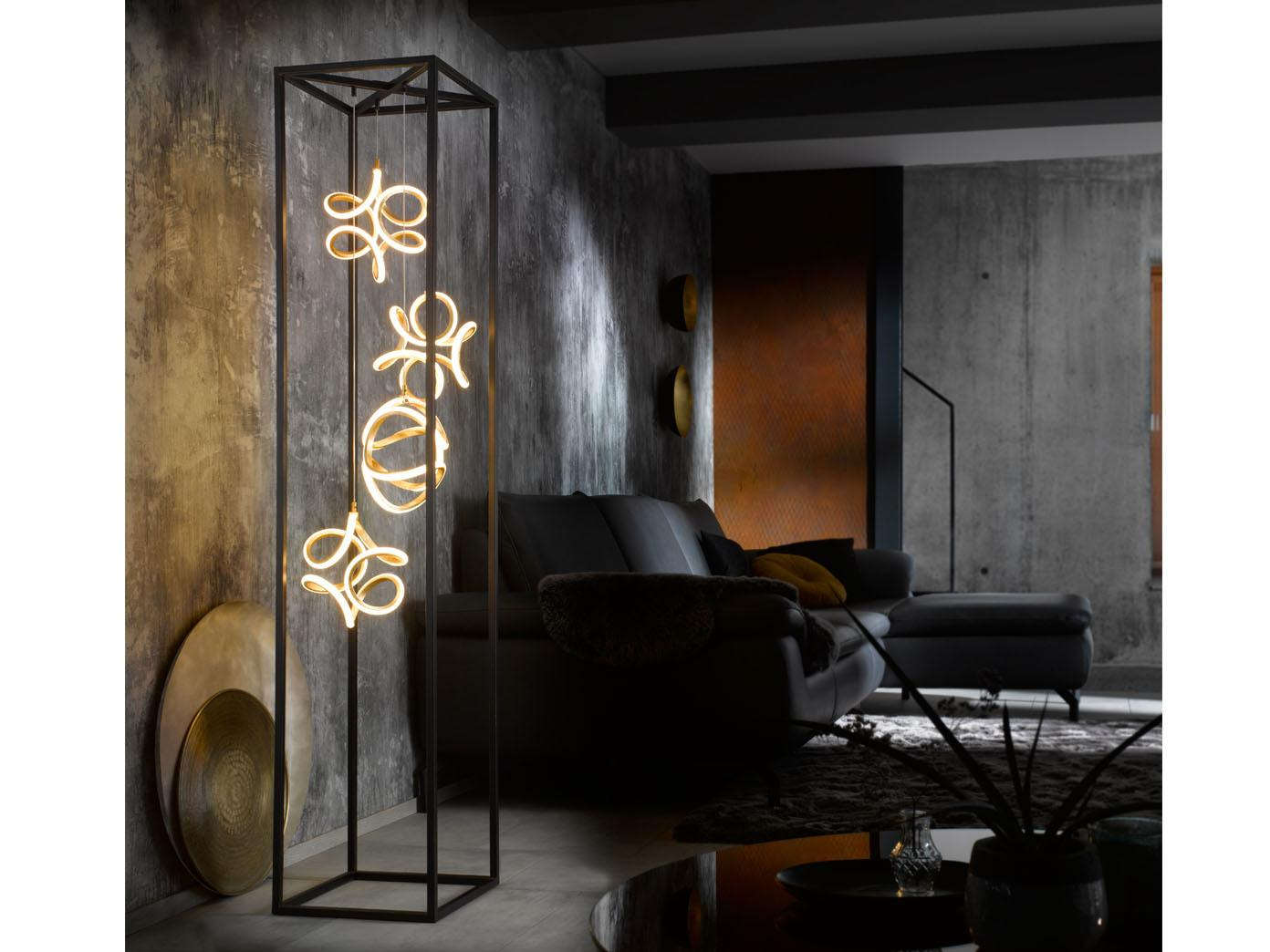 Stehlampe Schwarz Gold Dimmbar