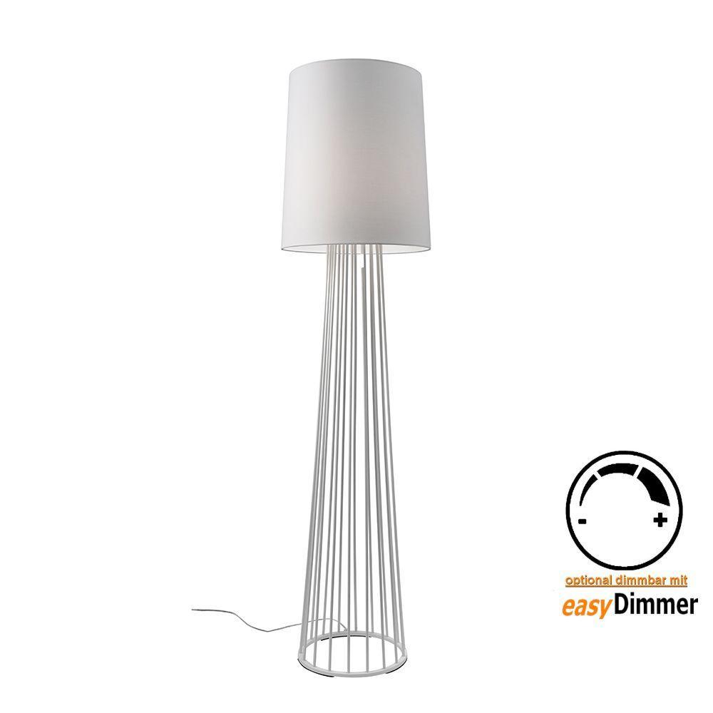 Stehlampe Weiß Stoff