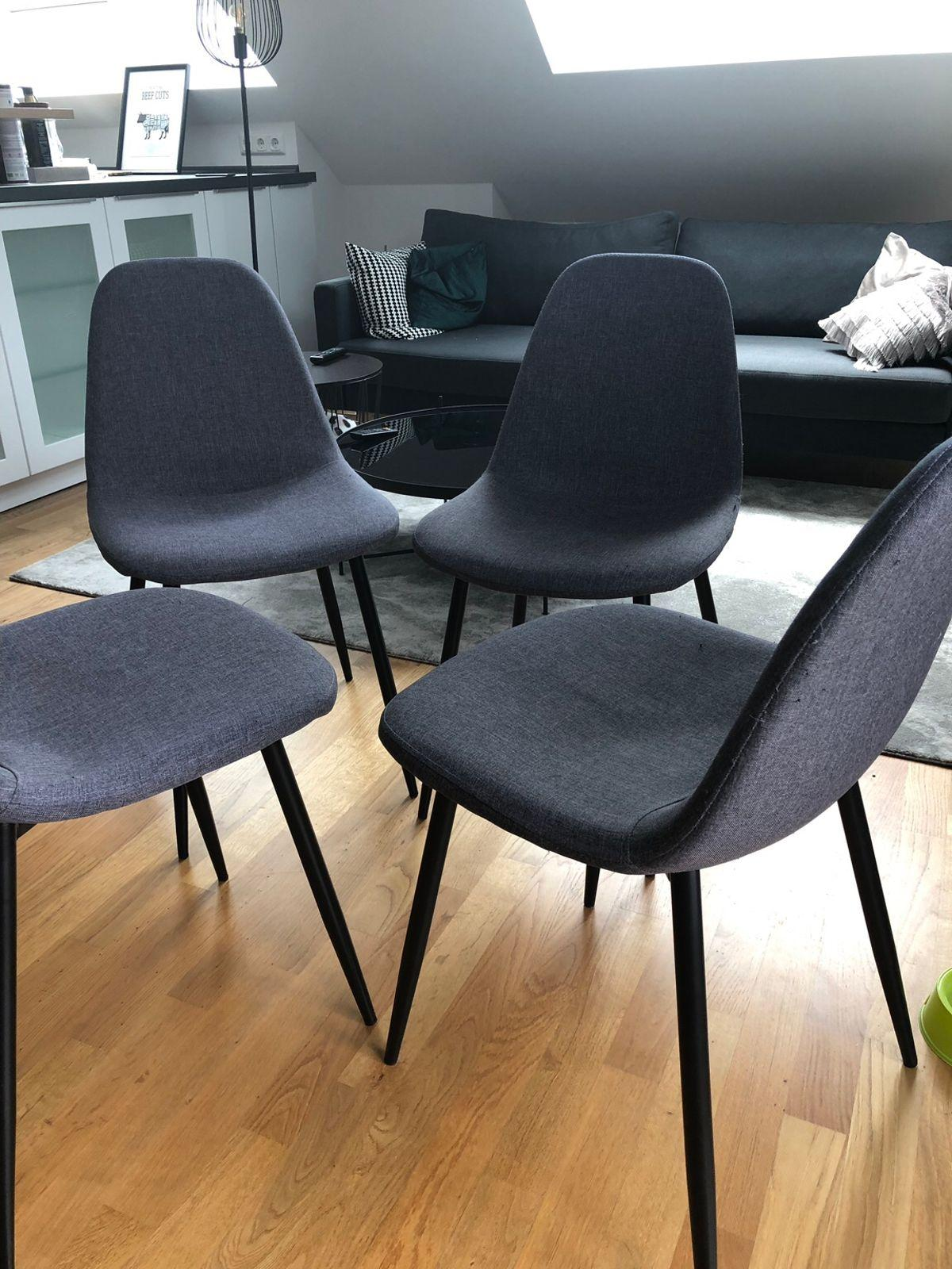 Stuhl Grau Schwarze Beine