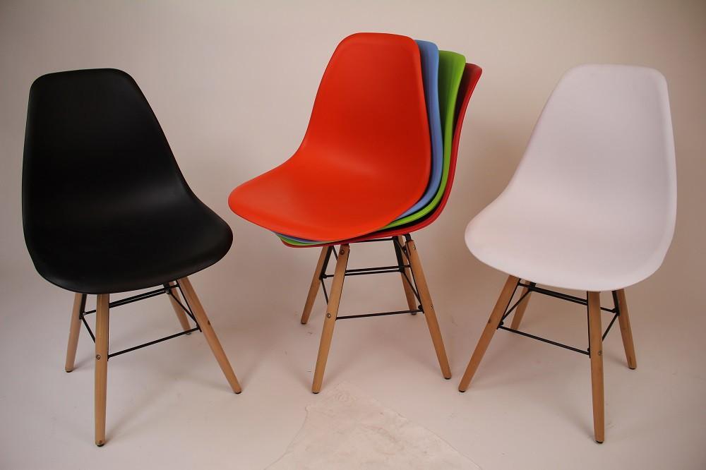 Stuhl Kunststoff Holzbeine