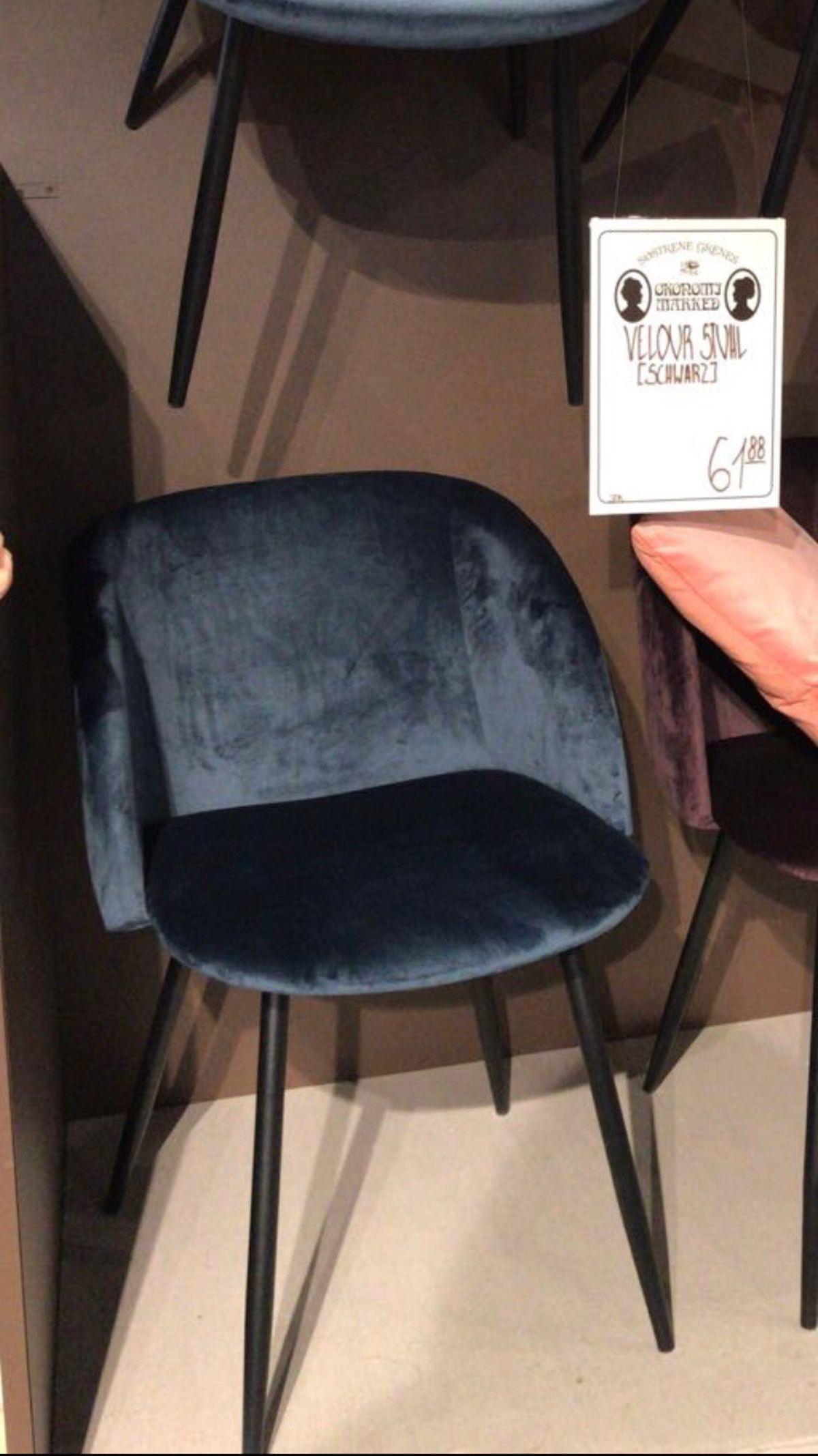 Stuhl Schwarz Samt