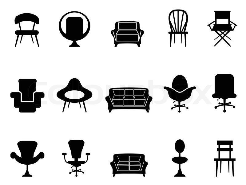 Stuhl Schwarz Weiß Clipart