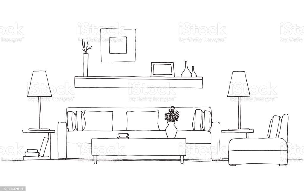 Stuhl Und Tisch Zeichnen