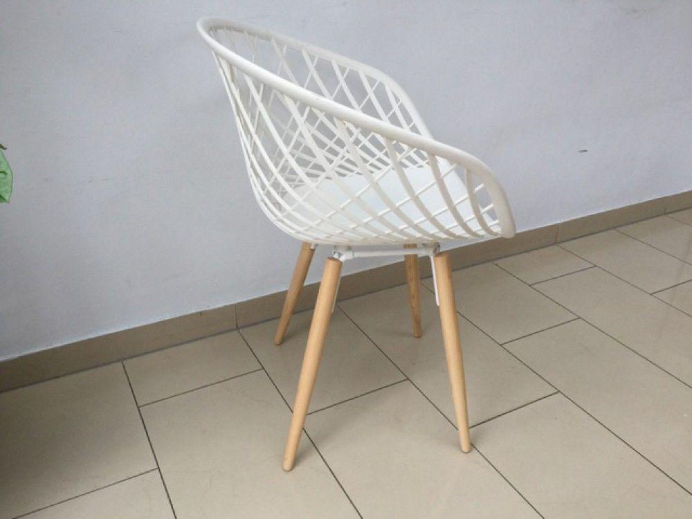 Stuhl Weiß Kunststoff Holzbeine