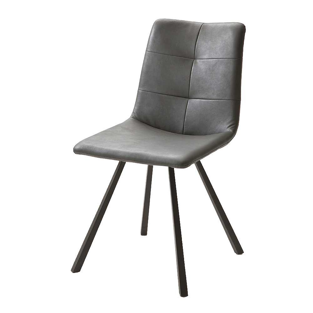 Stühle Grau Leder