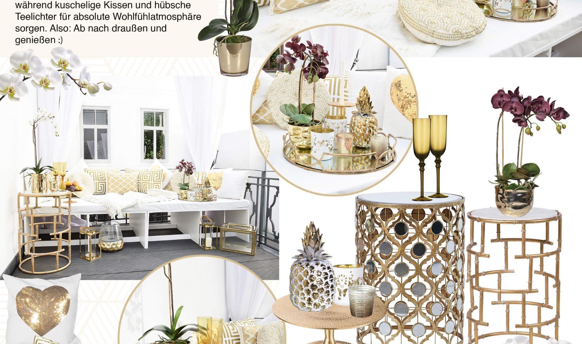 Tischdeko Wohnzimmer Gold
