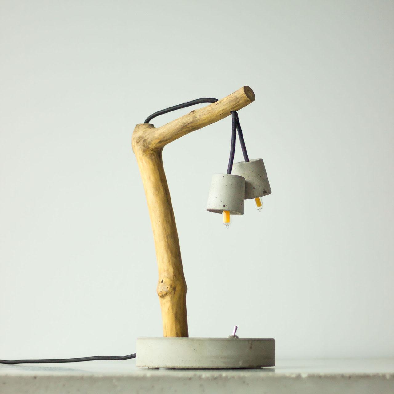 Tischlampe Beton Holz