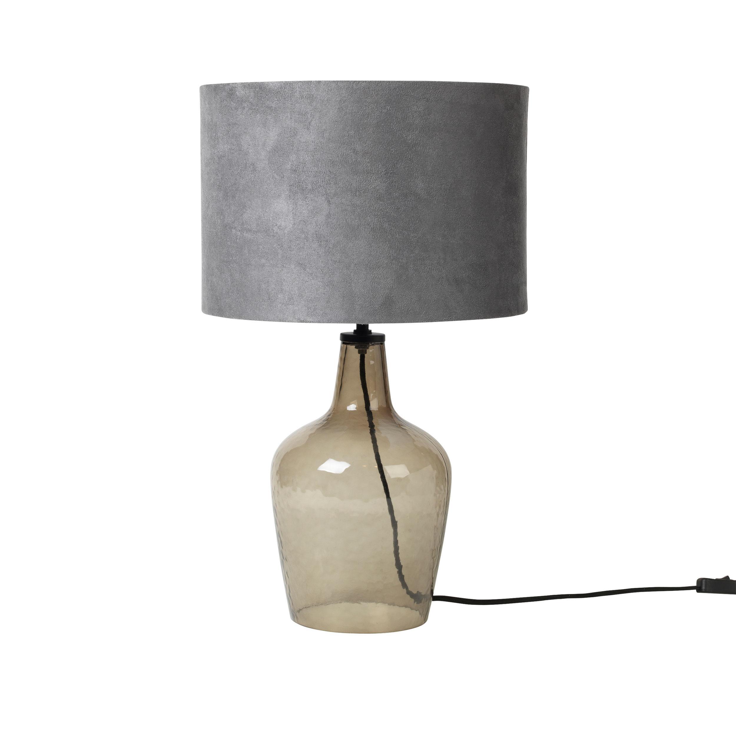 Tischlampe Glas Grau