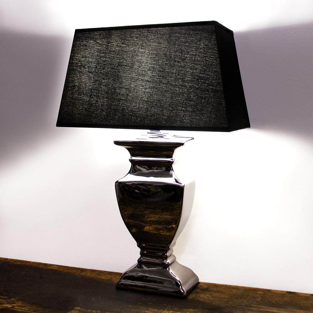 Tischlampe Silber Schwarzer Schirm