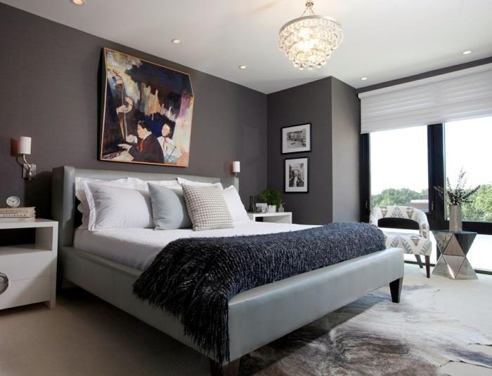 Wand Wandgestaltung Schlafzimmer Grau