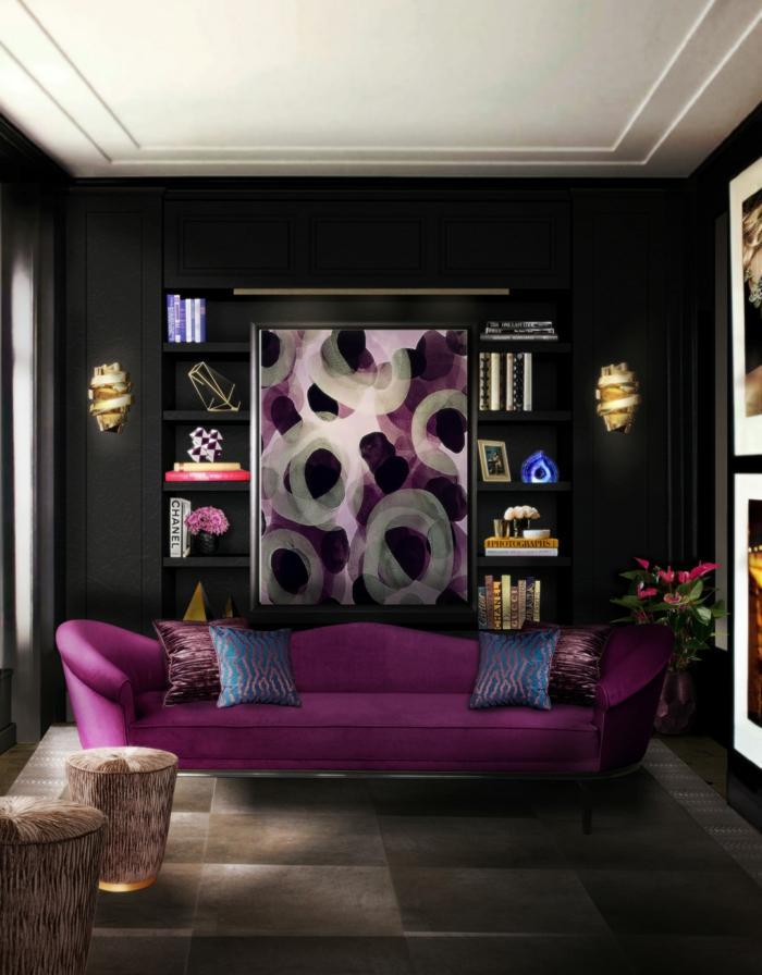 Wandfarbe Lila Wohnzimmer