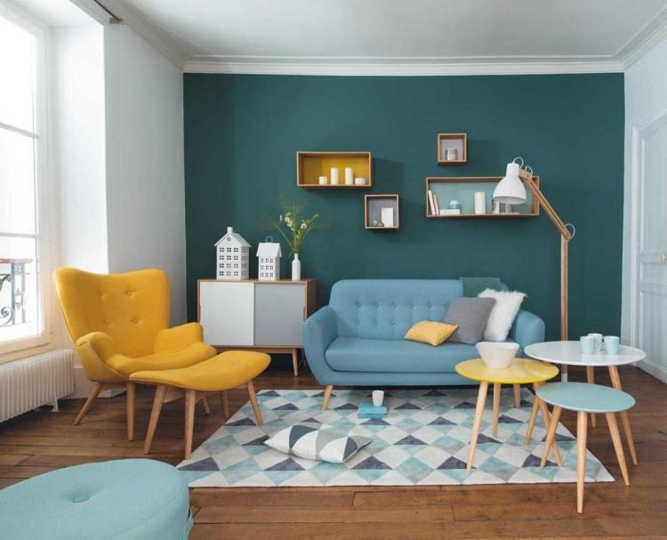 Wandfarbe Petrol Wohnzimmer