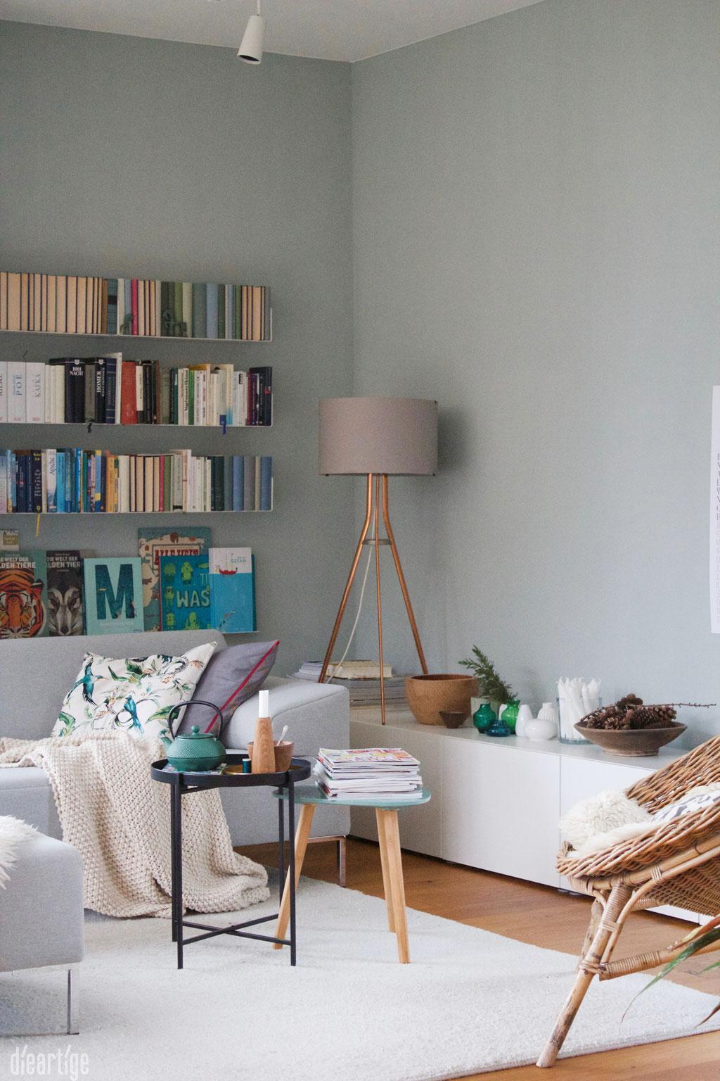 Wandfarbe Wohnzimmer Grau Grün