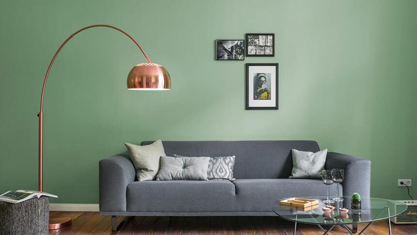 Wandfarbe Wohnzimmer Lila Grau