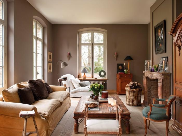 Wandgestaltung Braunes Sofa Welche Wandfarbe