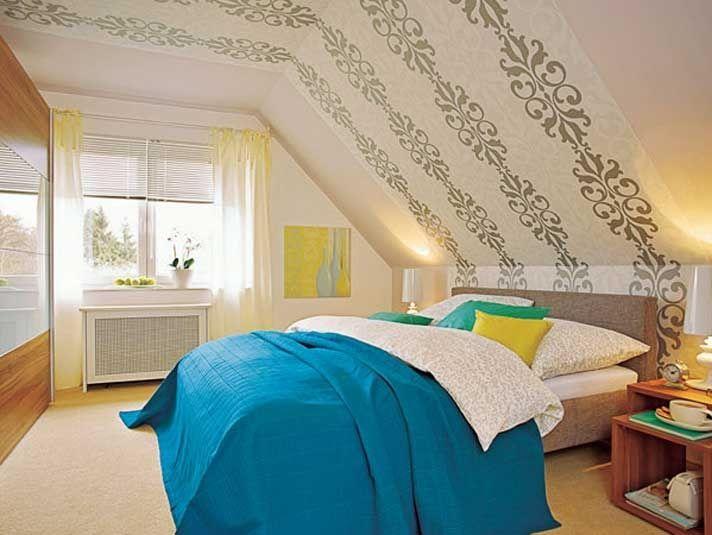 Wandgestaltung Dachschräge Deko Schlafzimmer